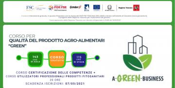 """Corso gratuito per QUALITA' DEL PRODOTTO AGRO-ALIMENTARE """"GREEN"""" – Scadenza iscrizioni 7 MAGGIO 2021"""
