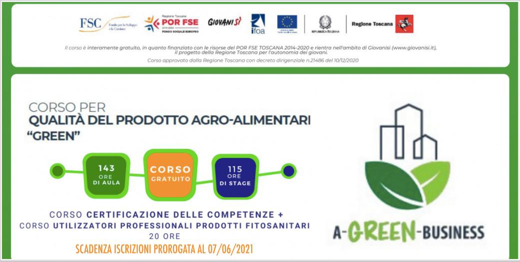"""Corso gratuito per QUALITÀ DEL PRODOTTO AGRO-ALIMENTARE """"GREEN"""" – Scadenza iscrizioni 7 GIUGNO 2021"""