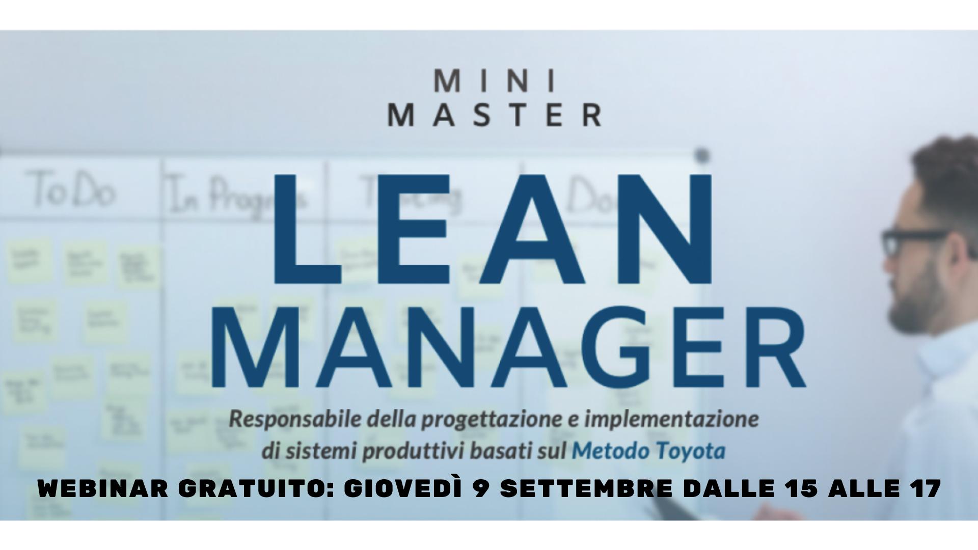 MASTER LEAN MANAGER: terza edizione a settembre 2021 più un webinar gratuito